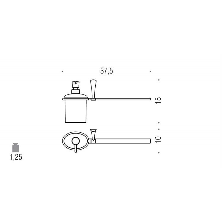 Accessorio da bagno spandisapone con vetro acidato + portasalviette a destra - Land, Colombo Design