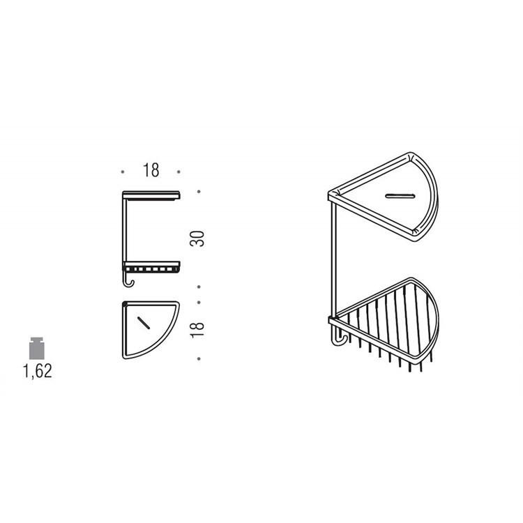 Accessorio doccia angolare da muro con cestino cromato e vaschetta in ceramica bianca - Colombo Design