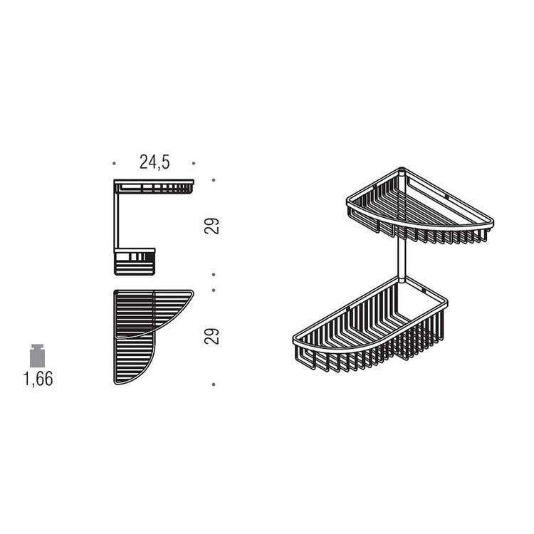 Accessorio doccia angolare da muro con due cestini cromato - Colombo Design