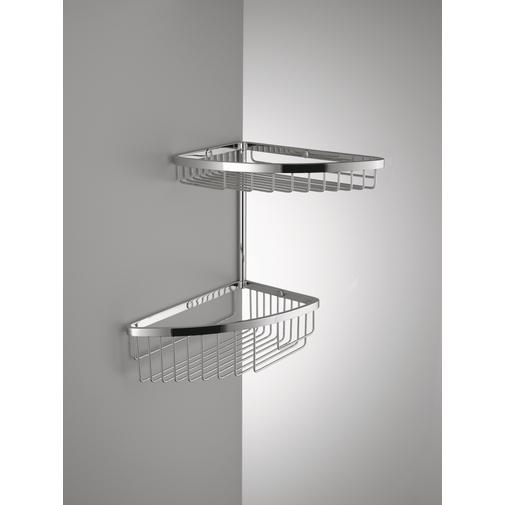 Accessorio doccia angolare da muro con due cestini cromato stile moderno - Colombo Design