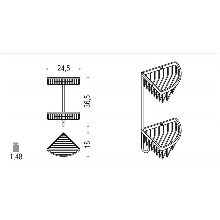 Accessorio doccia angolare da muro con due cestini e gancio cromato stile moderno - Colombo Design