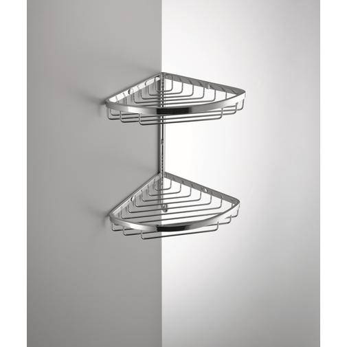 Accessorio doccia angolare da muro con due cestini sovrapposti stile moderno cromato - Colombo Design