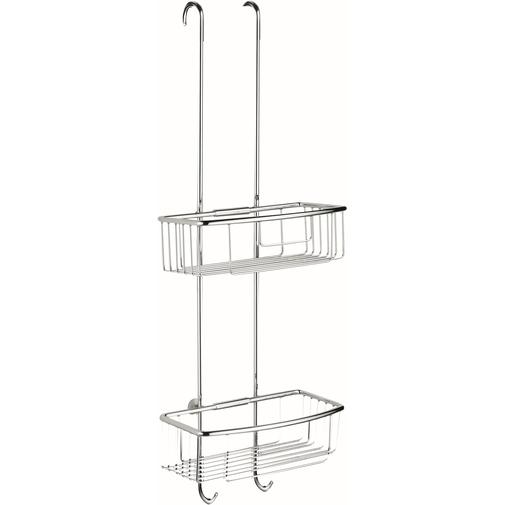 Accessorio porta oggetti per box doccia completo di due vaschette e gancio cromato - Colombo Design
