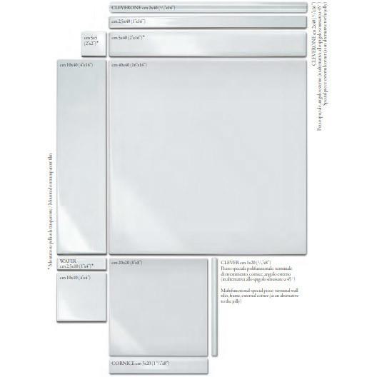 Angolo esterno in ceramica Bianco opaco, Cleverone 2x40 cm - Colore & Colore, Ceramica Bardelli