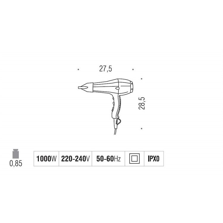 Asciugacapelli a filo colore bianco 1000W - Fit, Colombo Design