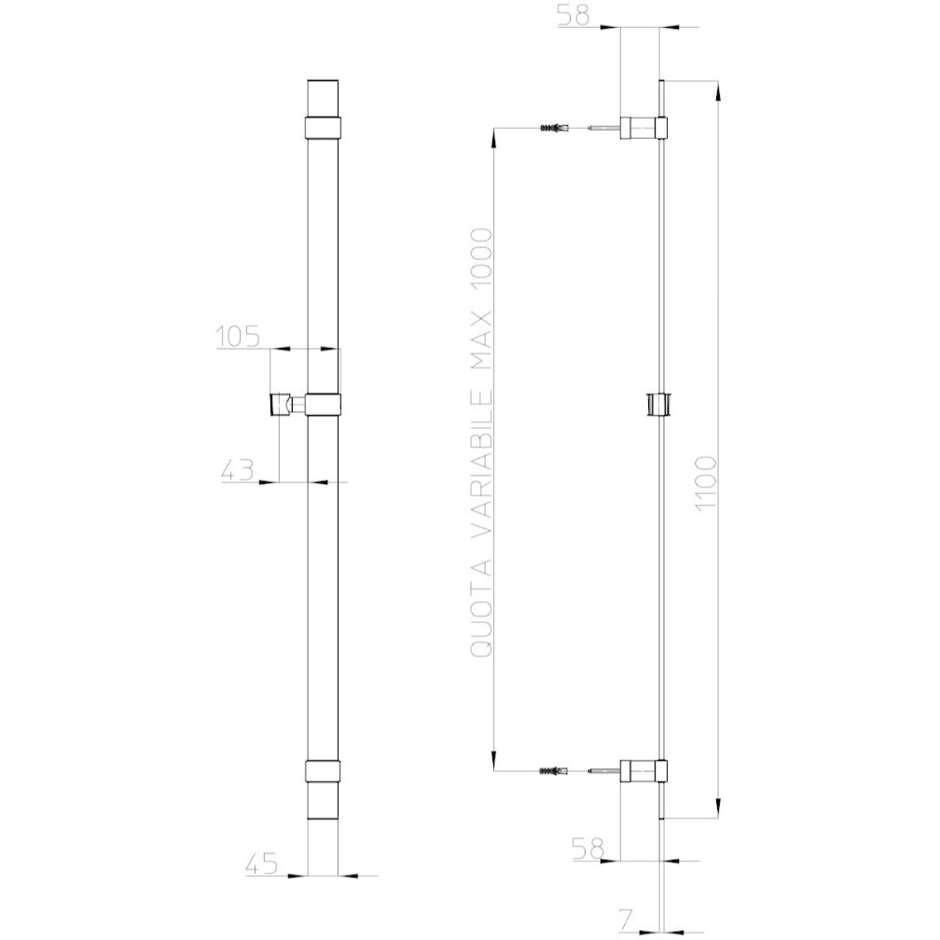 Asta saliscendi 110 cm, a sezione piatta e supporti regolabili, con doccetta diametro 14 cm, 3 getti a risparmio di acqua - Mixa Flat, Bossini