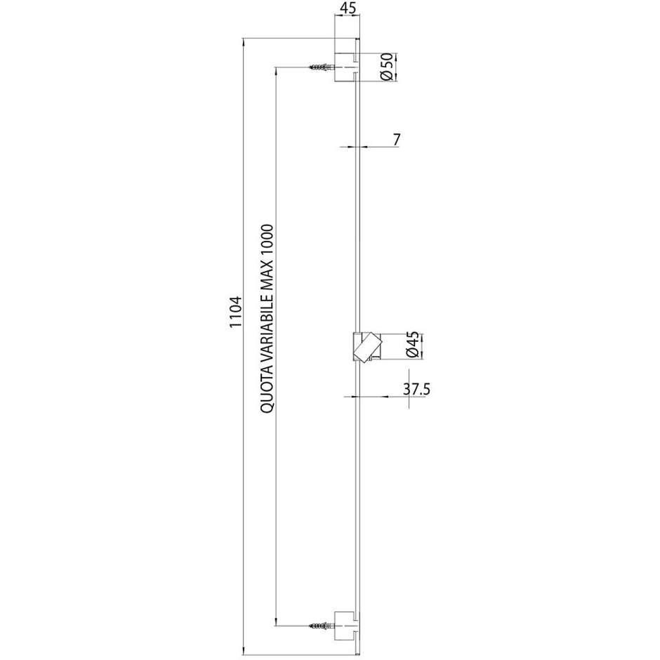 Asta saliscendi 110 cm con supporti regolabili, sezione piatta, con doccetta diametro 12 cm a 6 getti e flessibile antitorsione - Syncronia Flat, Bossini