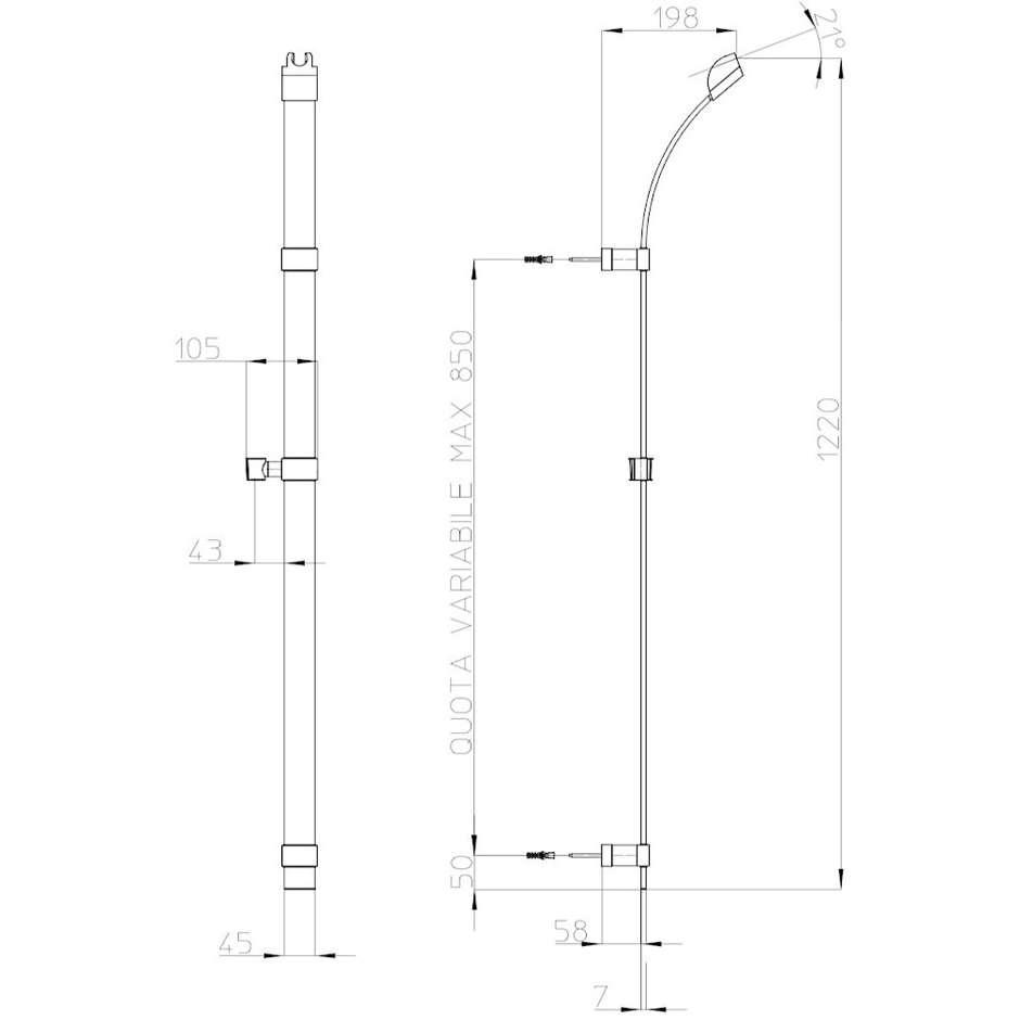 Asta saliscendi 120 cm, a sezione piatta e supporti regolabili, con doccetta diametro 14 cm, 3 getti a risparmio di acqua - Mixa Flat, Bossini