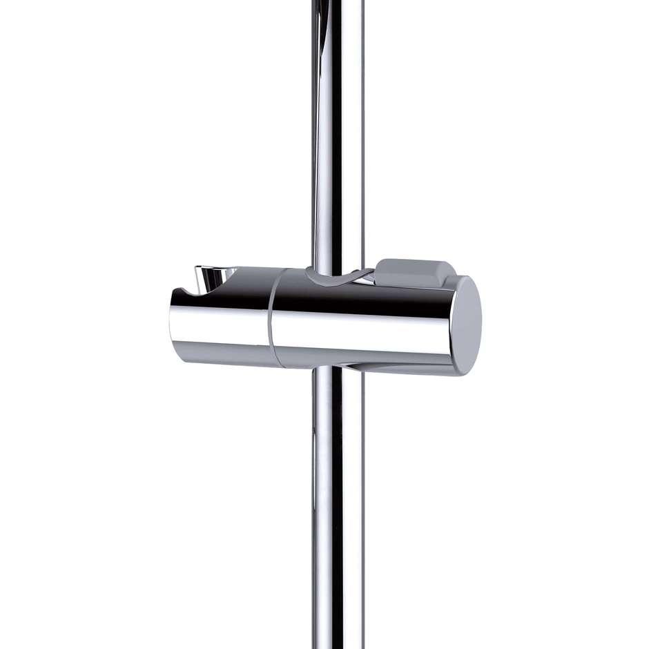 Asta saliscendi 70 cm con supporto superiore regolabile, doccetta diametro 10 cm a 3 getti e flessibile antitorsione - Syncronia, Bossini