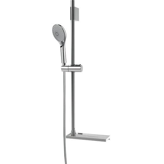 Asta saliscendi 70 cm con supporto superiore regolabile, doccetta diametro 10 cm a 3 getti, flessibile antitorsione e portasapone integrato - Syncronia, Bossini