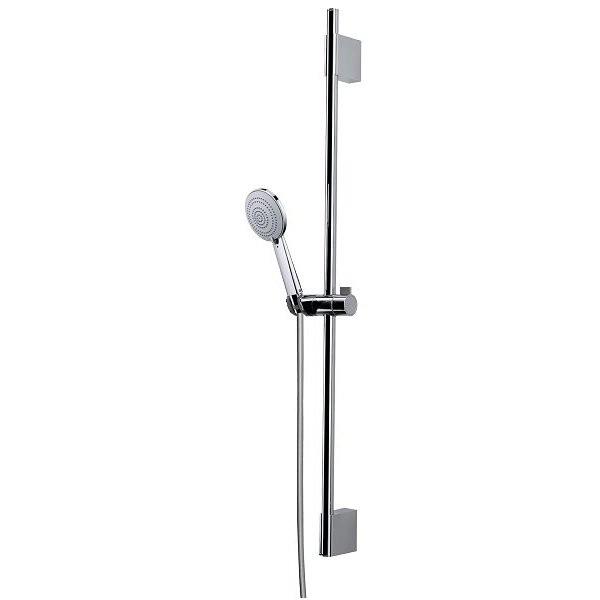 Asta saliscendi 70 cm con supporto superiore regolabile, doccetta diametro 11 cm, 3 getti a risparmio di acqua  e flessibile antitorsione - Syncronia, Bossini
