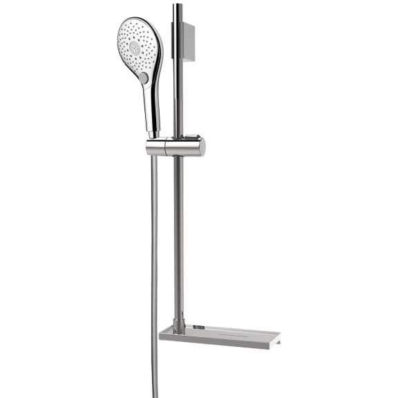 Asta saliscendi 70 cm con supporto superiore regolabile, doccetta diametro 12 cm a 6 getti, flessibile antitorsione e portasapone integrato - Syncronia, Bossini