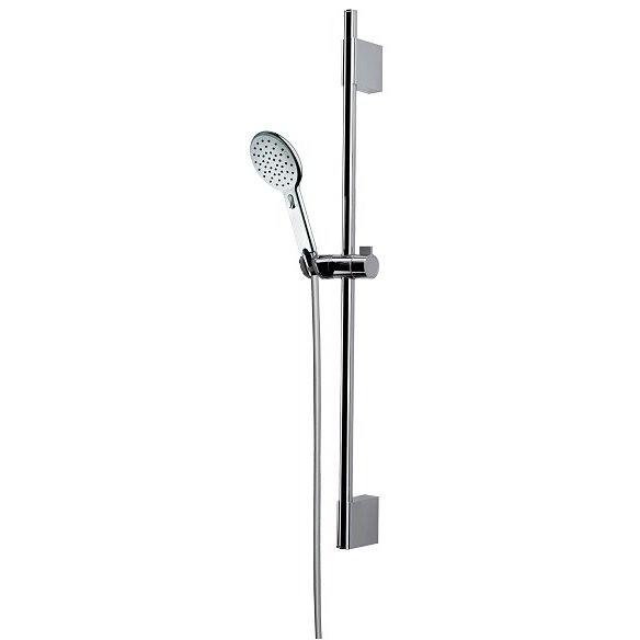 Asta saliscendi 70 cm con supporto superiore regolabile, doccetta diametro 12 cm a risparmio acqua e flessibile antitorsione - Agua Life, Bossini
