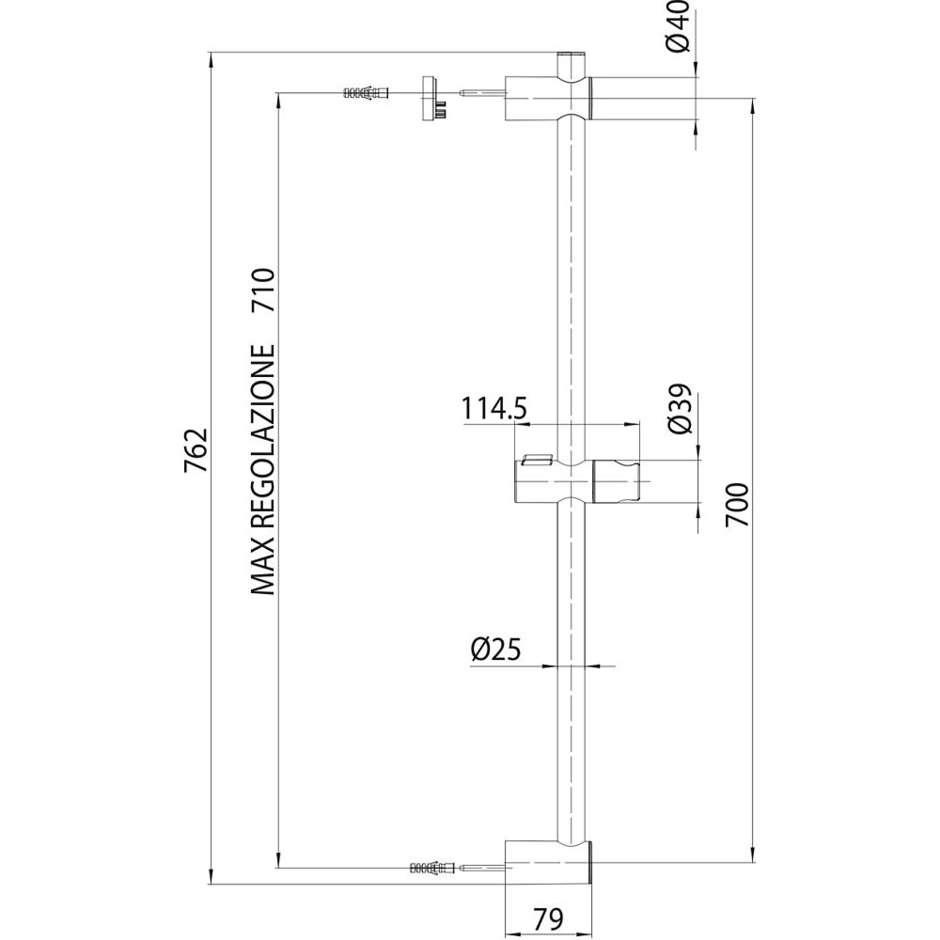 Asta saliscendi 70 cm con supporto superiore regolabile, doccetta diametro 9,3 cm a 3 getti e flessibile antitorsione - Duetto Mas, Bossini