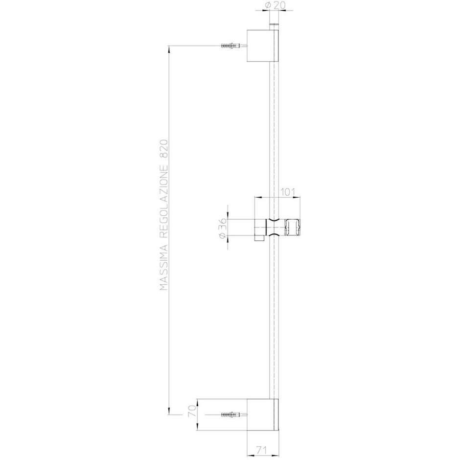 Asta saliscendi 70 cm con supporto superiore regolabile, doccetta squadrata 8x12 cm a risparmio di acqua e flessibile antitorsione - Syncronia, Bossini