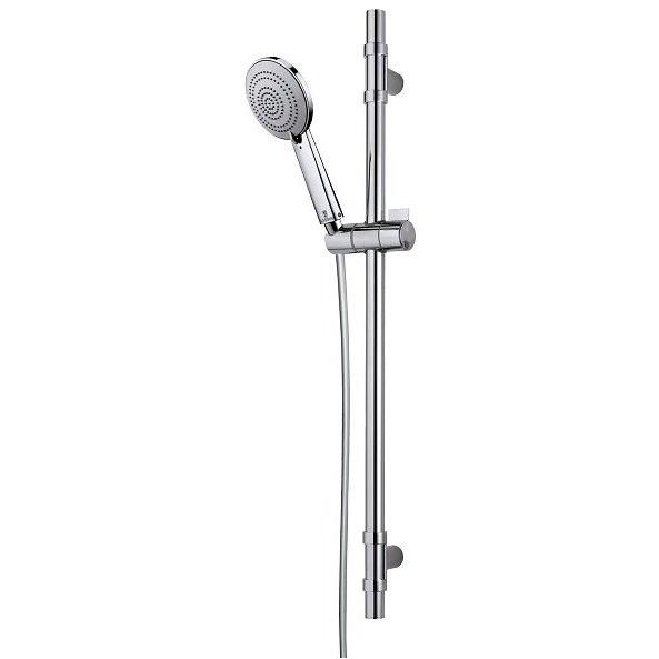 Asta saliscendi 75 cm con supporto superiore regolabile, doccetta diametro 11 cm, 3 getti a risparmio acqua e flessibile antitorsione - Syncronia, Bossini