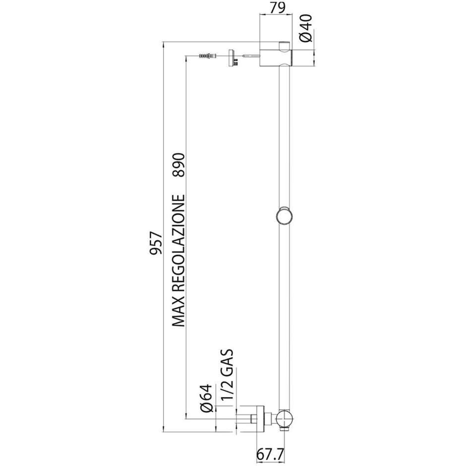 Asta saliscendi 90 cm, supporto superiore regolabile, con miscelatore, flessibile antitorsione e doccetta diametro 12 cm a 6 getti - Syncronia, Bossini
