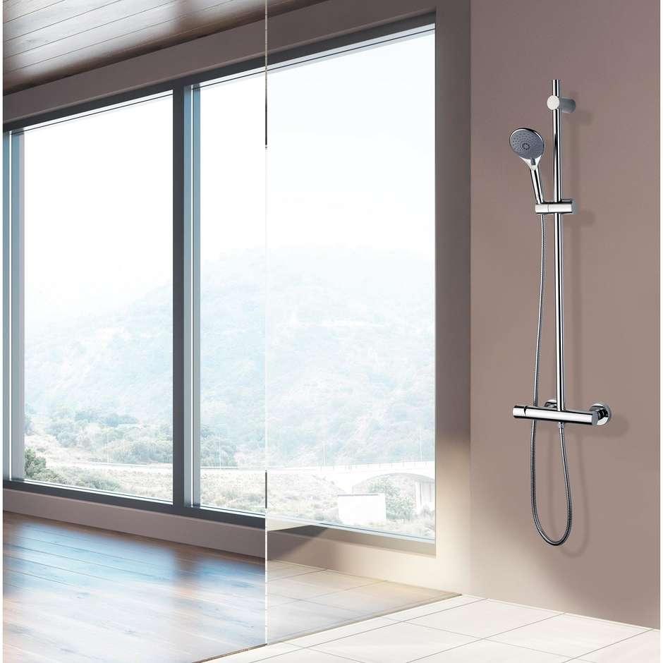 Asta saliscendi 90 cm, supporto superiore regolabile, con miscelatore termostatico, flessibile antitorsione e doccetta diametro 12 cm a 6 getti - Syncronia, Bossini