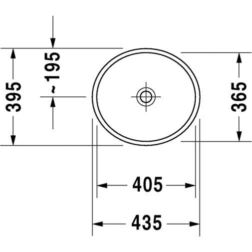 Bacinella da appoggio soprapiano con rettifica senza troppopieno bianco 43,5 cm - Starck 2, Duravit