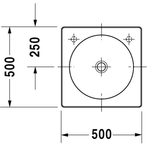 Bacinella da appoggio soprapiano con rettifica senza troppopieno foro rubinetteria a destra, bianco 50 cm - Architec, Duravit
