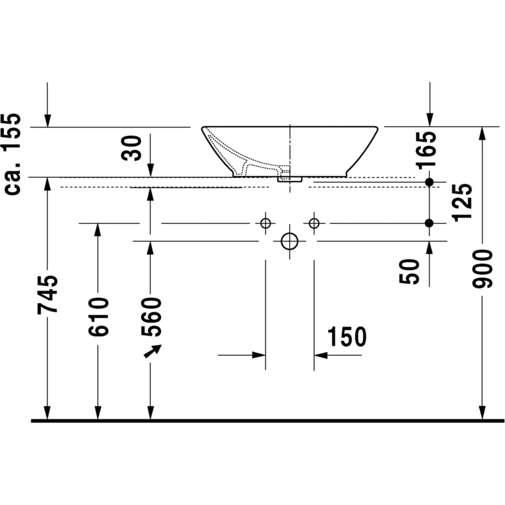 Bacinella da appoggio soprapiano con troppopieno bianco 55 cm - Bacino, Duravit