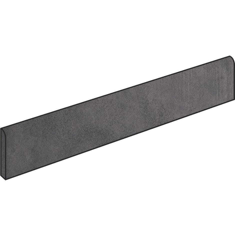 Battiscopa effetto cemento Antracite 7X90 cm, rettificato - Entropia, Dom Ceramiche