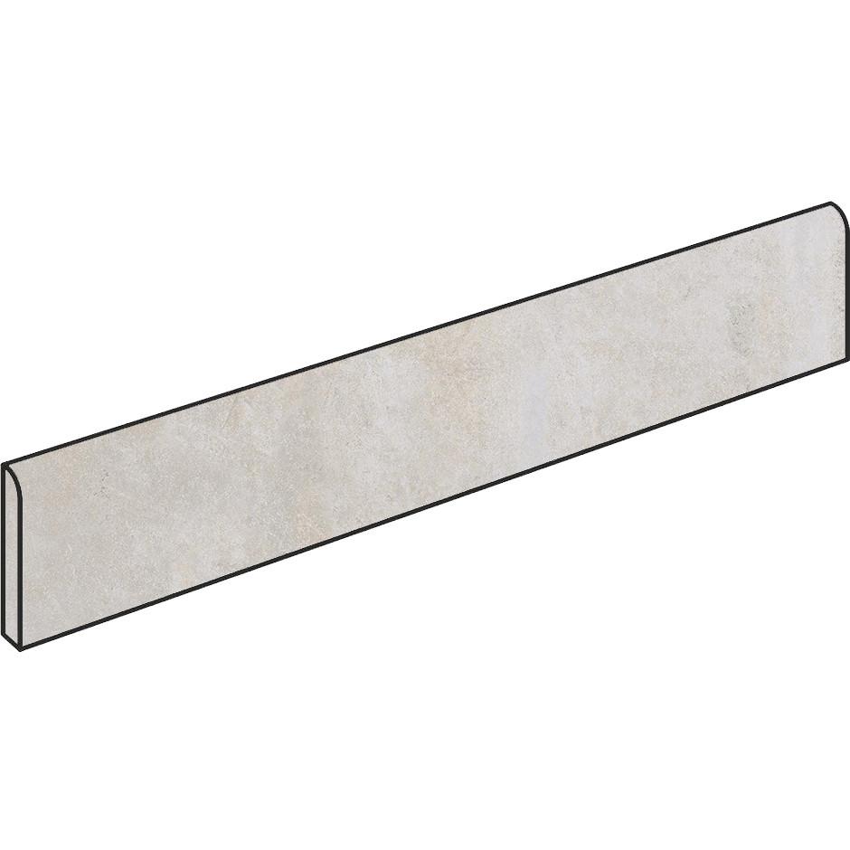 Battiscopa effetto cemento Bianco 7x90 cm, rettificato - Entropia, Dom Ceramiche