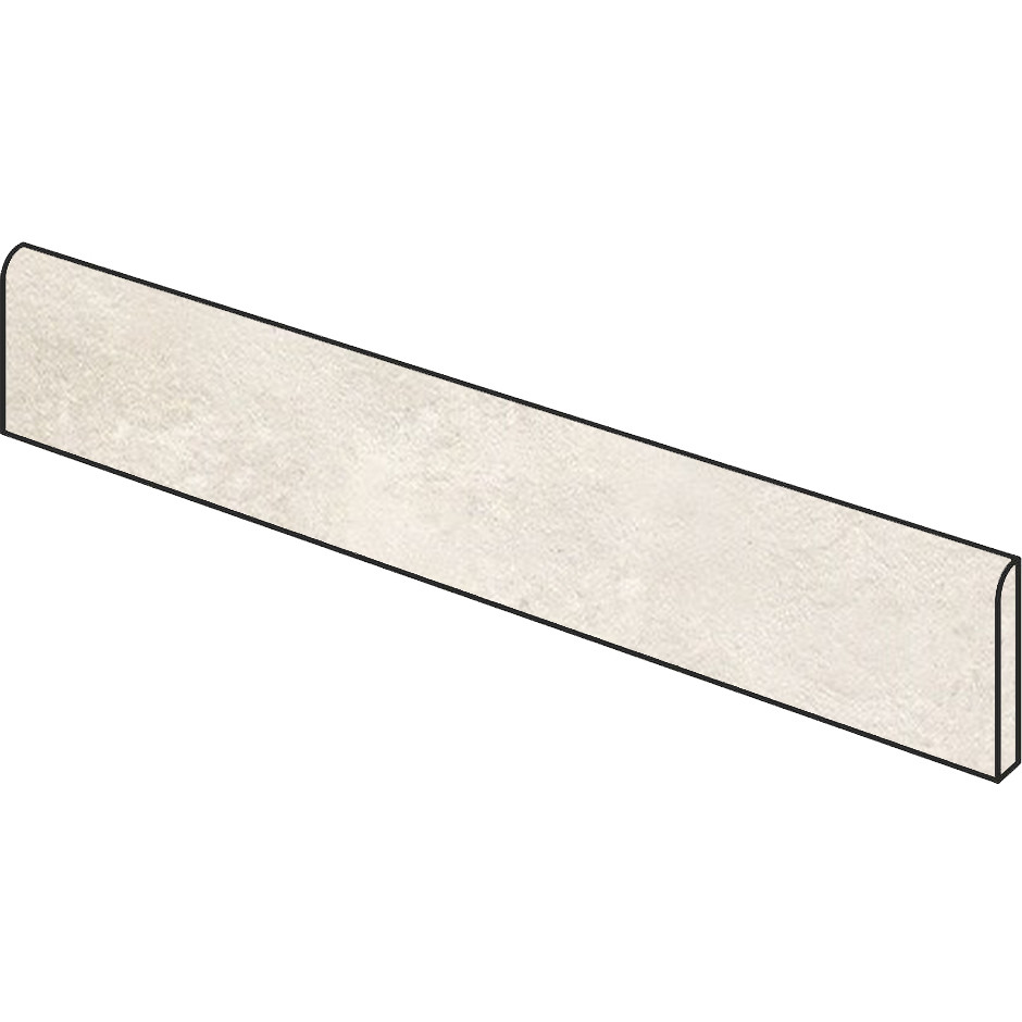 Battiscopa effetto cemento bianco 7x90 cm White, lappato semilucido rettificato - Uptown, Dom Ceramiche