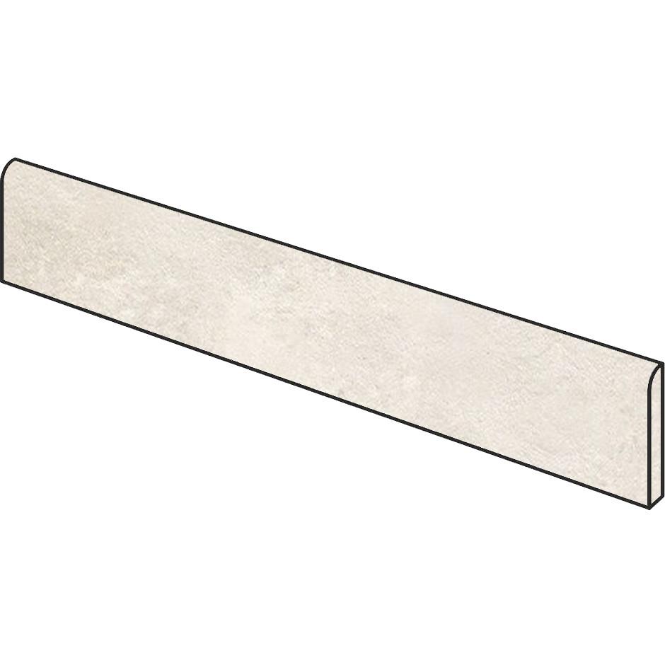 Battiscopa effetto cemento bianco 7x90 cm White, rettificato - Uptown, Dom Ceramiche