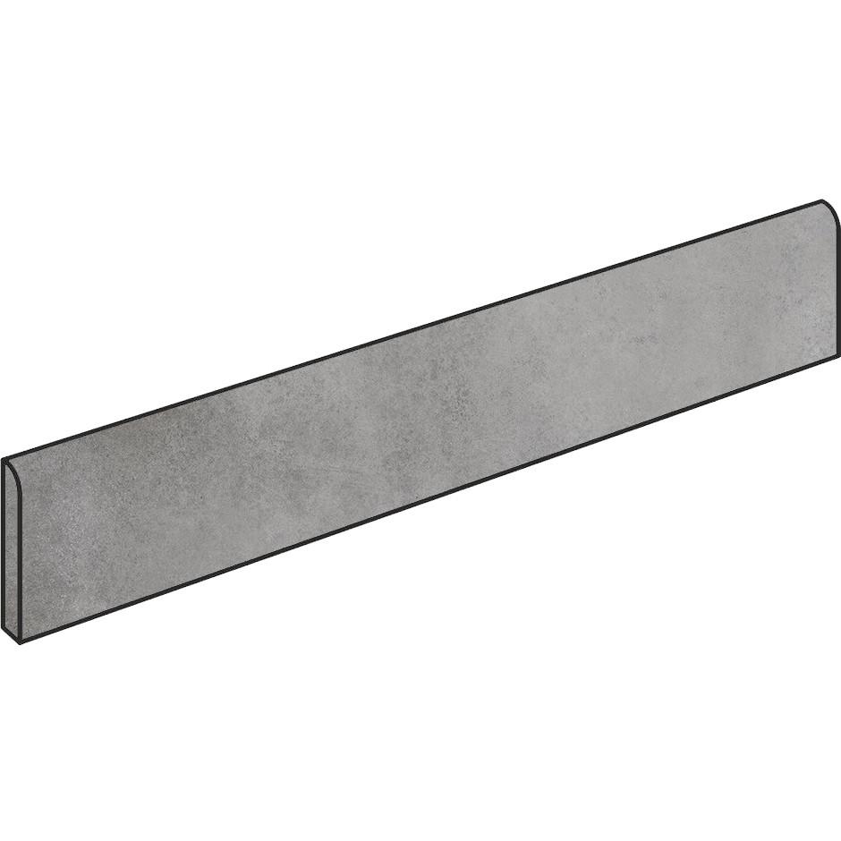 Battiscopa effetto cemento Grigio 7x90 cm, rettificato - Entropia, Dom Ceramiche
