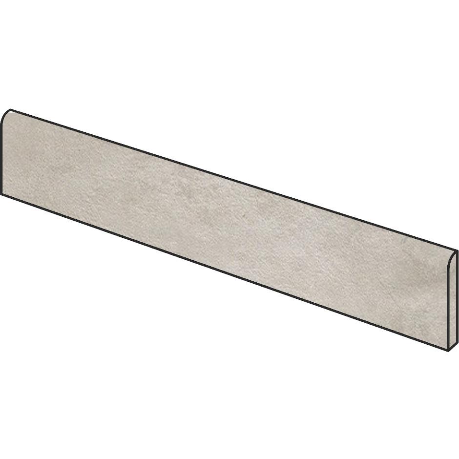 Battiscopa effetto cemento grigio argento 7x90 cm Silver, lappato semilucido rettificato - Uptown, Dom Ceramiche