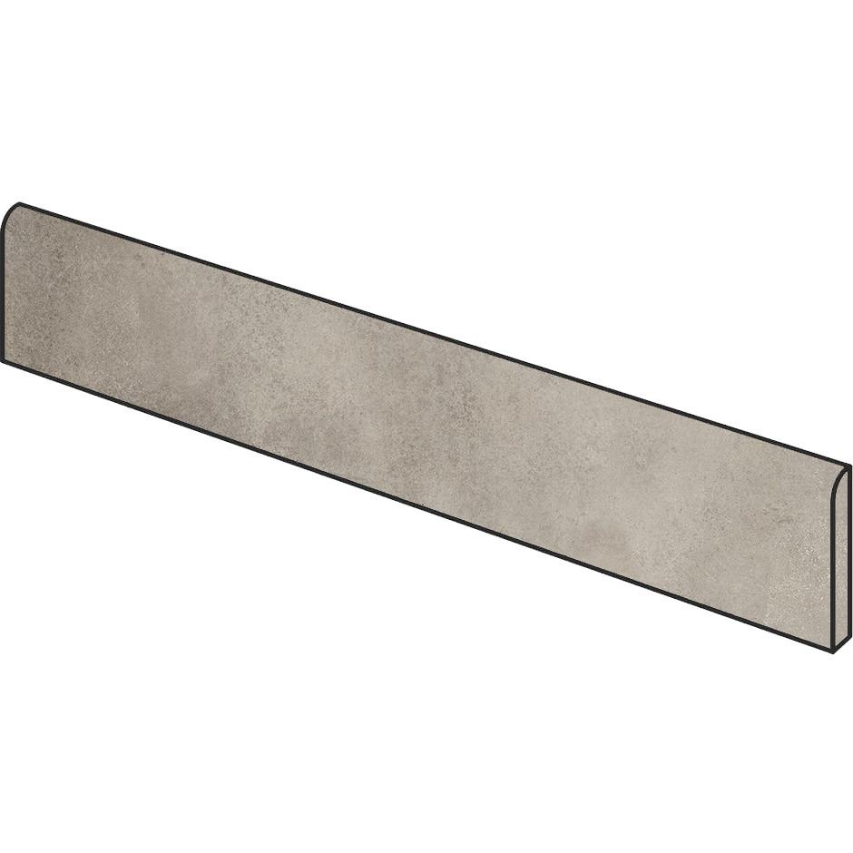 Battiscopa effetto cemento grigio beige 5x75 cm, rettificato, Greige - Entropia, Dom Ceramiche