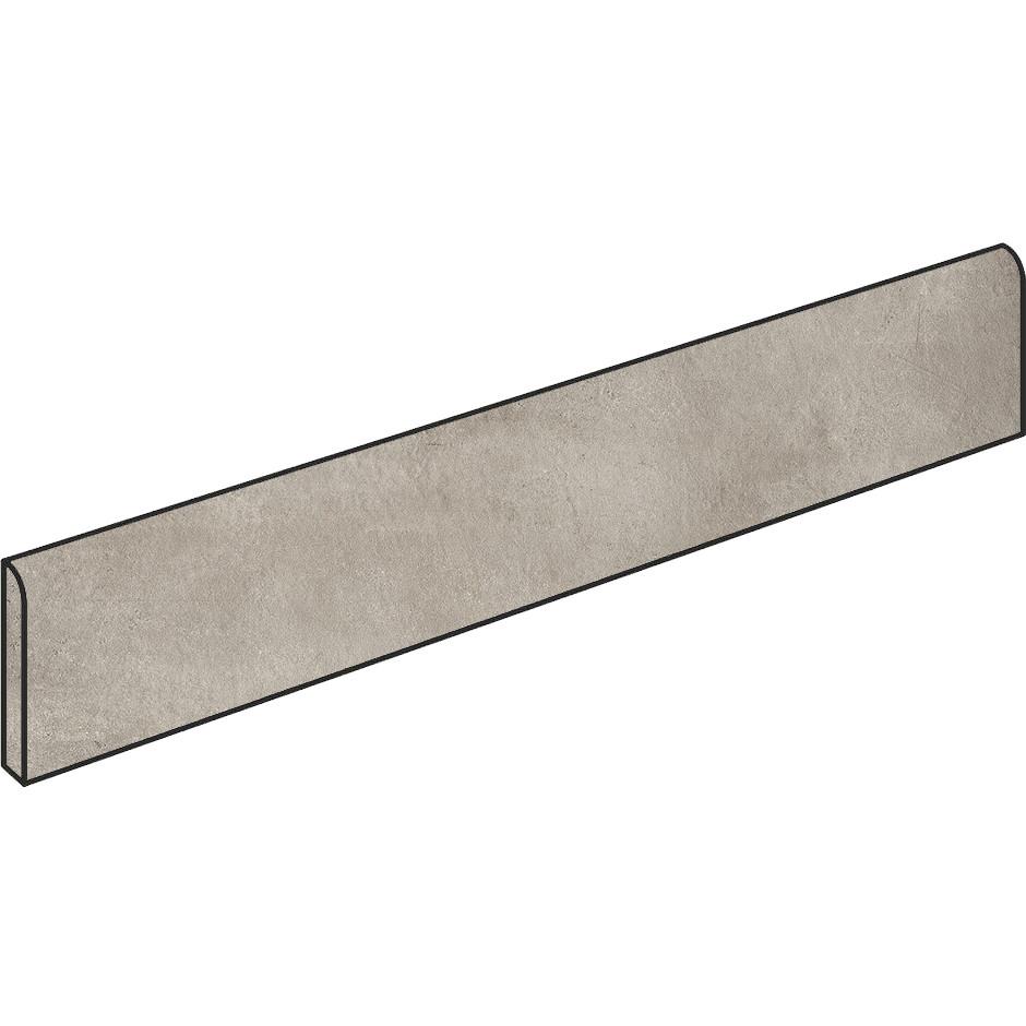 Battiscopa effetto cemento grigio beige 7x90 cm, rettificato, Greige - Entropia, Dom Ceramiche