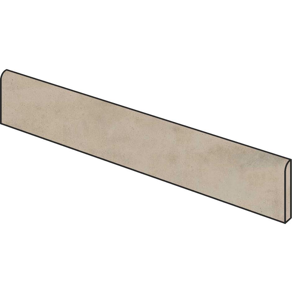 Battiscopa effetto cemento grigio beige 9x59,5 cm, Greige, rettificato - Entropia, Dom Ceramiche
