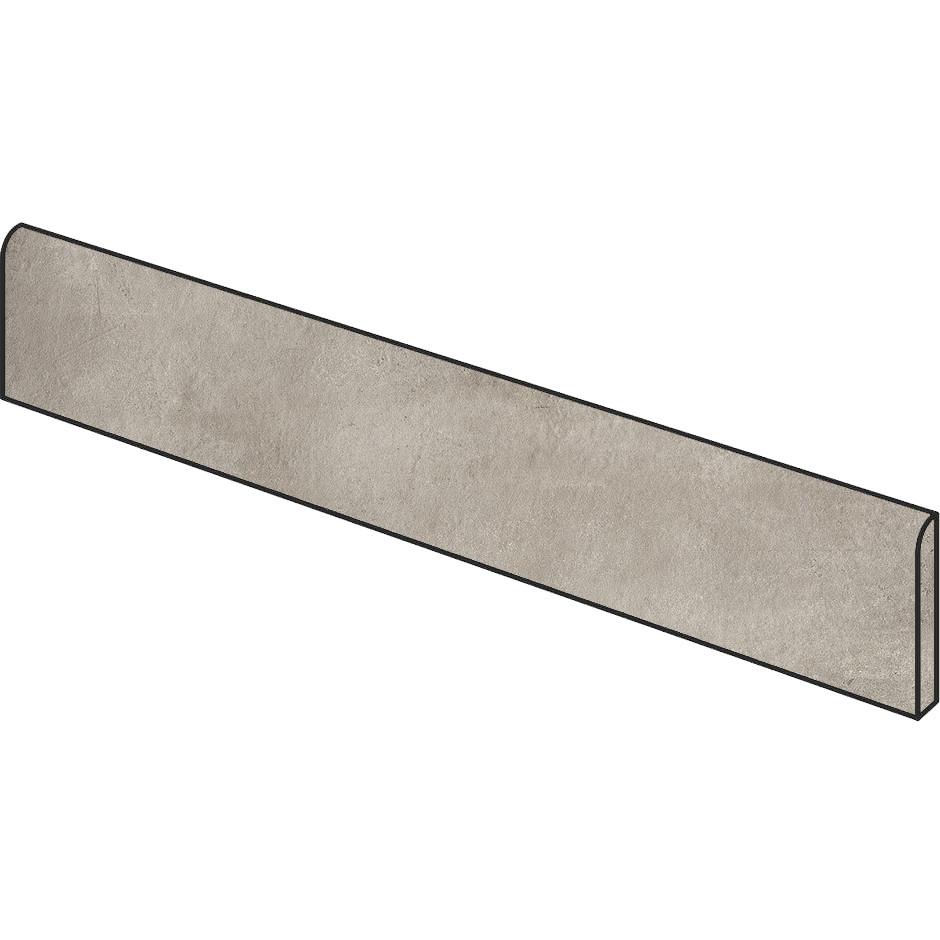 Battiscopa effetto cemento grigio beige 9x59,5 cm, rettificato lappato semilucido, Greige - Entropia, Dom Ceramiche
