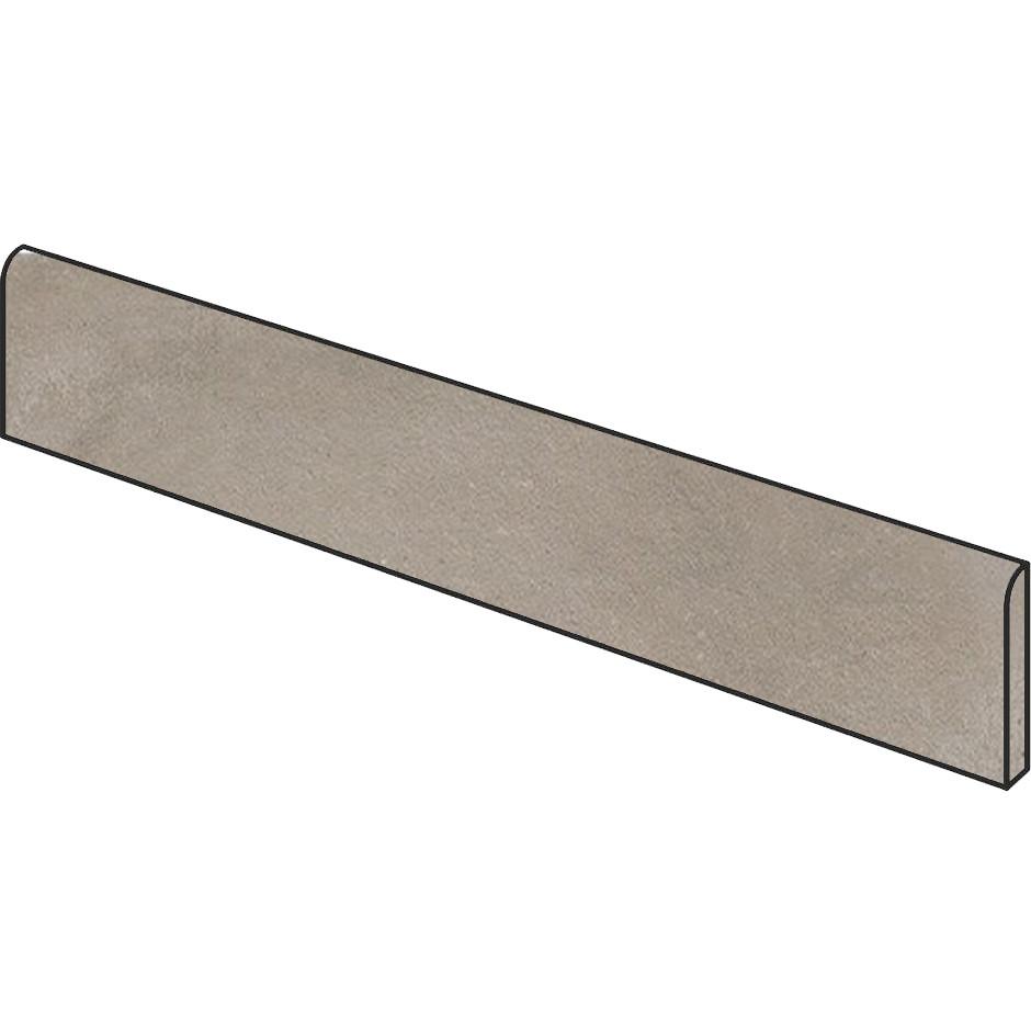 Battiscopa effetto cemento marrone 7x90 cm Lead, lappato semilucido, rettificato - Uptown, Dom Ceramiche