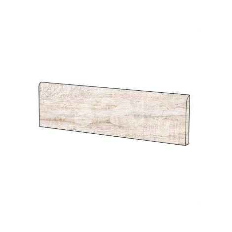 Battiscopa effetto legno in gres porcellanato color bianco ghiaccio, Alpe, 10x60 cm - Cadore , Cotto d'este