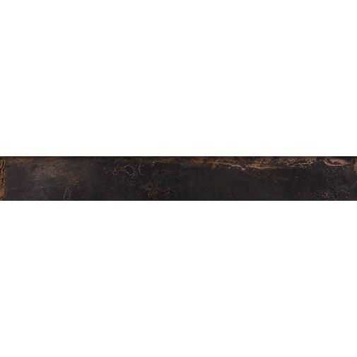 Battiscopa effetto metallo ossidato, in gres porcellanato, Black 7,3x60 cm - Oxidart , Ceramica Sant'Agostino