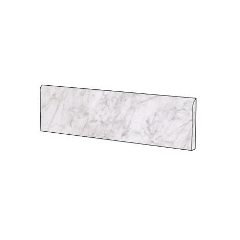 Battiscopa elegante effetto marmo in gres porcellanato lucido colore Bardiglio Bianco 9x59 cm - Marmoker, Casalgrande Padana