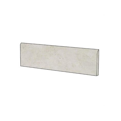 Battiscopa elegante effetto marmo in gres porcellanato lucido colore Crema Select 9x59 cm - Marmoker, Casalgrande Padana