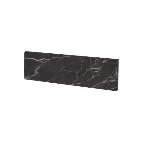 Battiscopa elegante effetto marmo in gres porcellanato lucido colore Nero Creta 9x59 cm - Marmoker, Casalgrande Padana