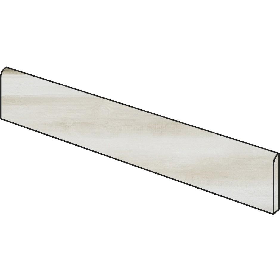 Battiscopa in gres porcellanato effetto legno/metallo, Bianco, 7x90 cm - Nori, Dom Ceramiche