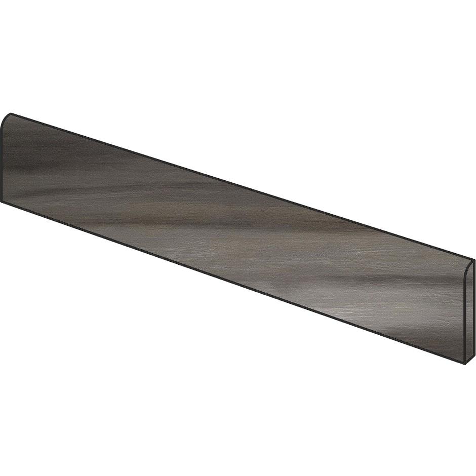 Battiscopa in gres porcellanato effetto legno/metallo, Nero, 7x90 cm - Nori, Dom Ceramiche