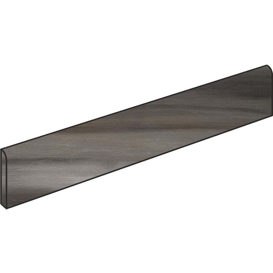 Battiscopa in gres porcellanato moderno effetto legno/metallo, Nero, 9x60 cm - Nori, Dom Ceramiche