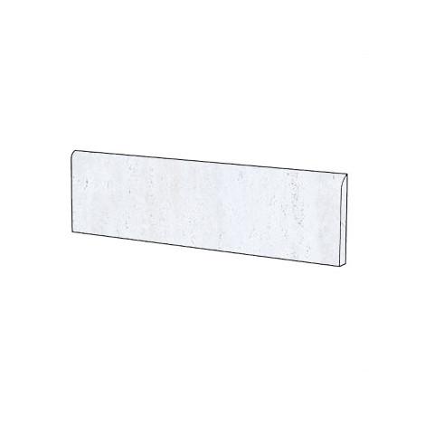 Battiscopa stile classico effetto marmo naturale in gres porcellanato colore Travertino Bianco 9x59 cm - Marmoker, Casalgrande Padana