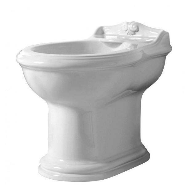 Bidet a terra filomuro 3 fori in ceramica bianca stile classico - Jubileaum, Azzurra Ceramica