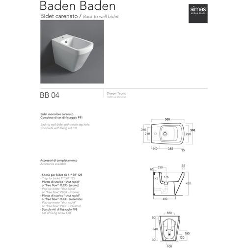 Bidet a terra filomuro design moderno in ceramica bianca - Baden Baden, Simas
