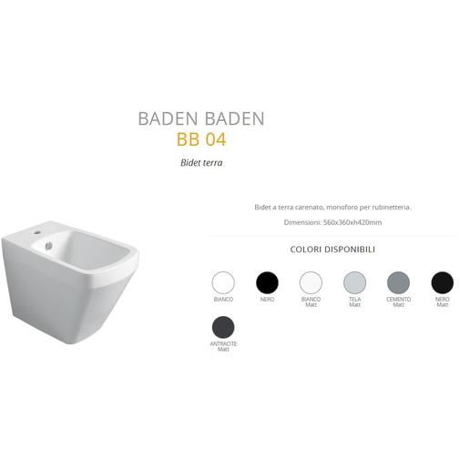 Bidet a terra filomuro design moderno nero opaco - Baden Baden, Simas