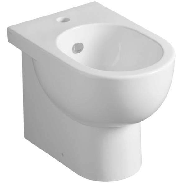 Bidet a terra filomuro in ceramica bianca design contemporaneo - E-Line, Simas