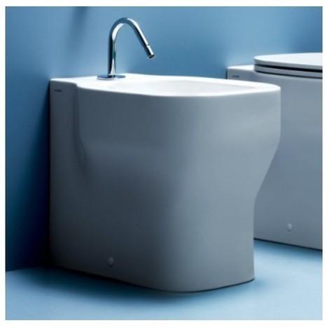 Bidet a terra filomuro in ceramica bianca stile moderno - Glaze, Azzurra Ceramica